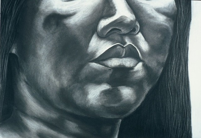 Charcoal drawing, face, black & white