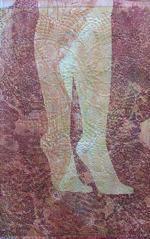 one-of-a-kind collagraph print, red legs against peach