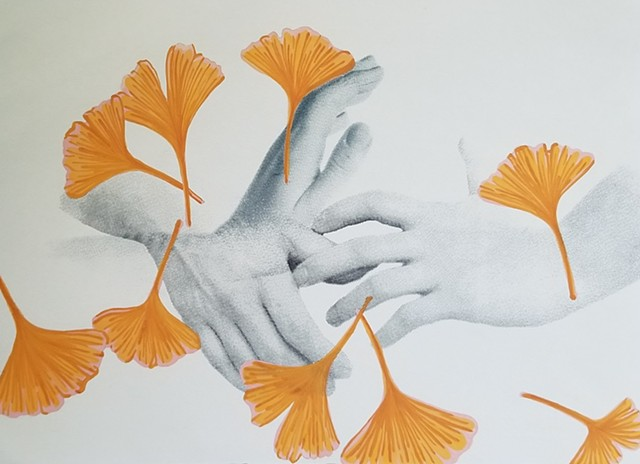 mixed media work on paper with hands and gingko leaves, color study