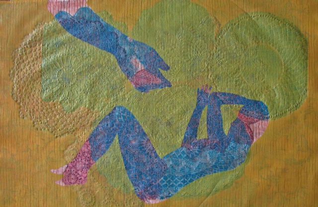 one-of-a-kind collagraph print, reclining figure with hand on orange