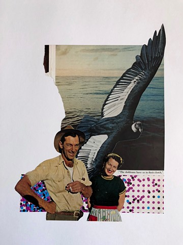 collage with happy loving couple and bird