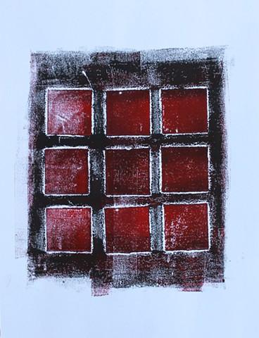 Nine Red Squares