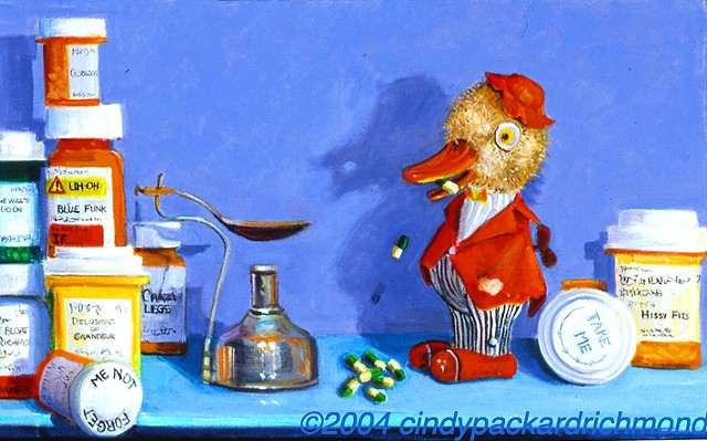 painting of wind-up toys, prescription bottles