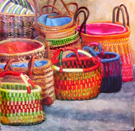 painting of woven bags in Provence
