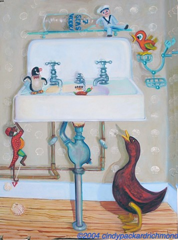 painting of vintage windup toys on antique sink