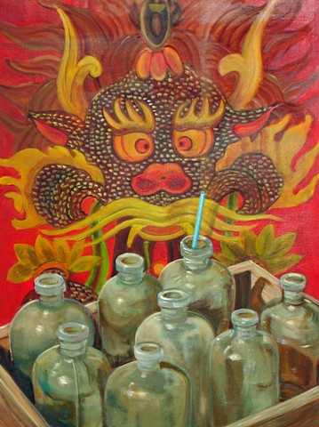 painting of an asian monster juxtaposed with vintage bottles and a straw