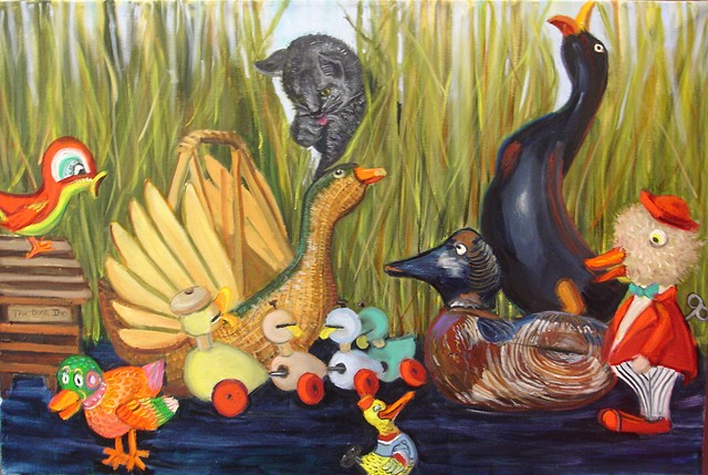 painting of duck toys and a lurking cat