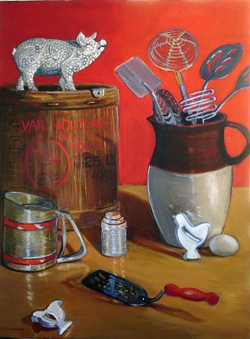 painting of whimiscal baking utensils