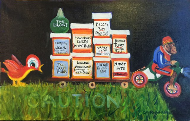 painting of windup toys, pharmacueticals, whimsical