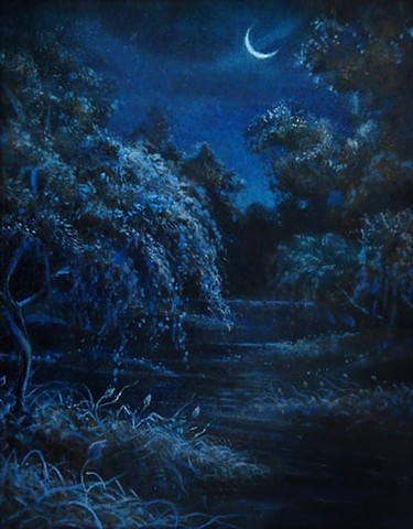 Denver Artist, Karl Orion, Karl Poulson, DSA Lessons, Art Teacher Denver, Art Teacher private lessons, Denver art teacher lessons, Colorado art teacher, Colorado artist, nighttime painting, moon painting