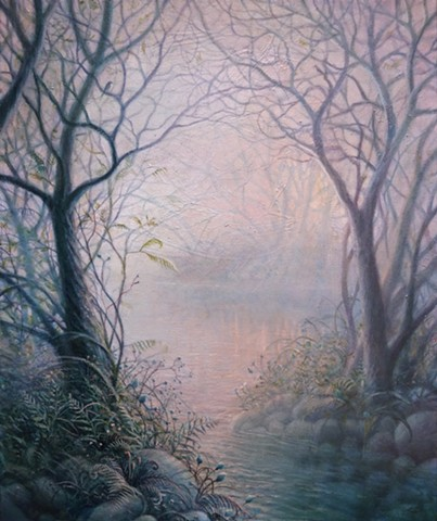 Karl Orion, Karl Poulson, painting, oil painting, Orion painting, painted pods, painted water, tree painting
