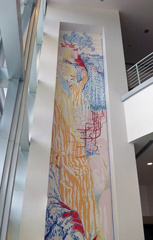 Site Specific Wall drawing, painting, mural at Rosemary Duff Gallery at Broward College by Kathleen Thum
