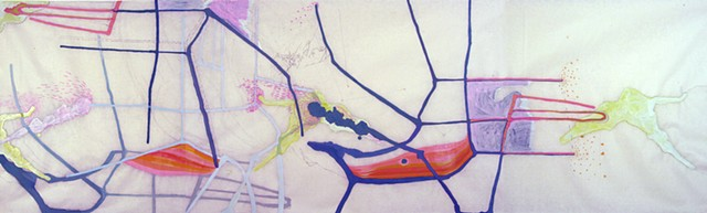 Abstract scroll drawing of body and mapping systems by Kathleen Thum