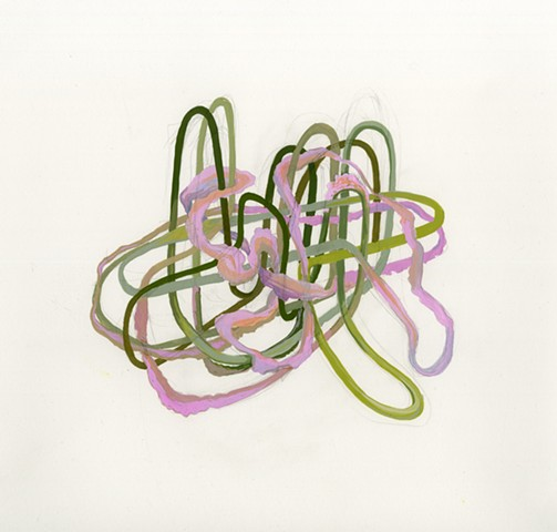 Gouache drawing and painting of organic pipelines, tubing and cables by Kathleen Thum