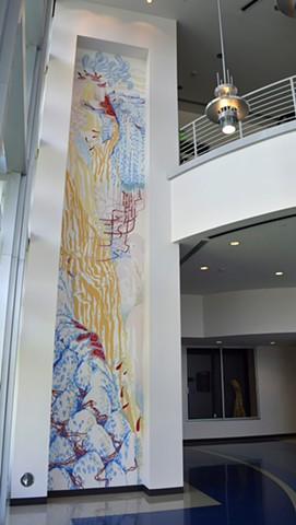 Site Specific Wall drawing, painting, mural at Broward College by Kathleen Thum