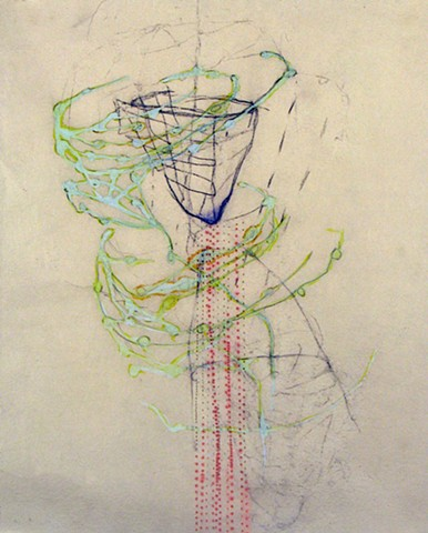 System Series drawing of body systems by Kathleen Thum