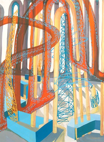 Gouache and Ink Painting of Abstract Industrial Landscape by Kathleen Thum