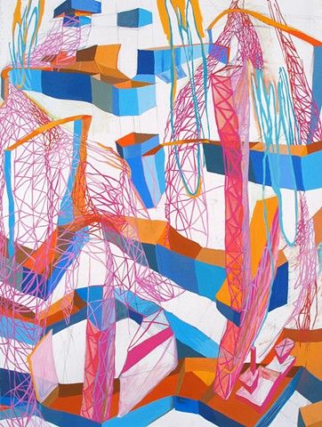 Gouache Painting of Abstract Industrial Landscape by Kathleen Thum