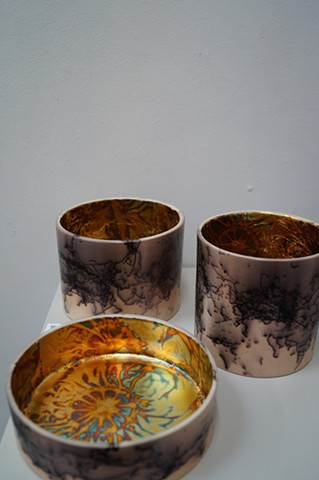 Mica Burnished, Horse Hair Fumed, Copper Leaf