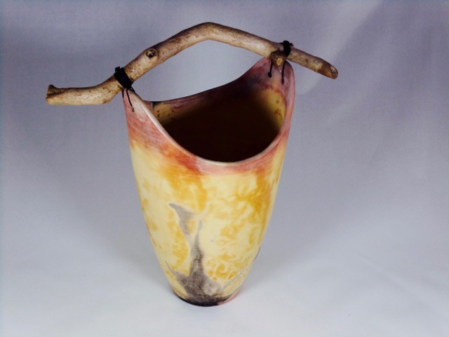Large vessel saggar fired with Ferric Chloride and Horse Hair