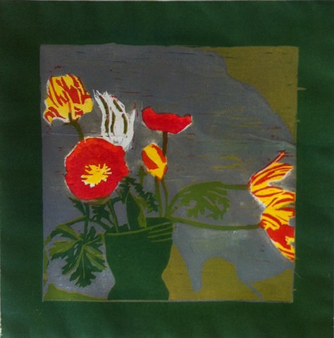 poppies and tulips, spring flowers. reduction woodblock