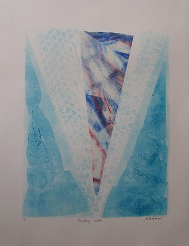 blue water inspiration, collographic elements