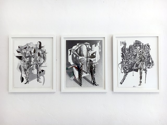 Installation view of A Strong Desire at PS120 Berlin featuring three of my Strong LQQks drawings