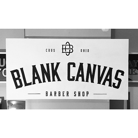 Hand painted sign for Blank Canvas Barber Shop, Columbus, Ohio, hand lettering, hand painted, typography.