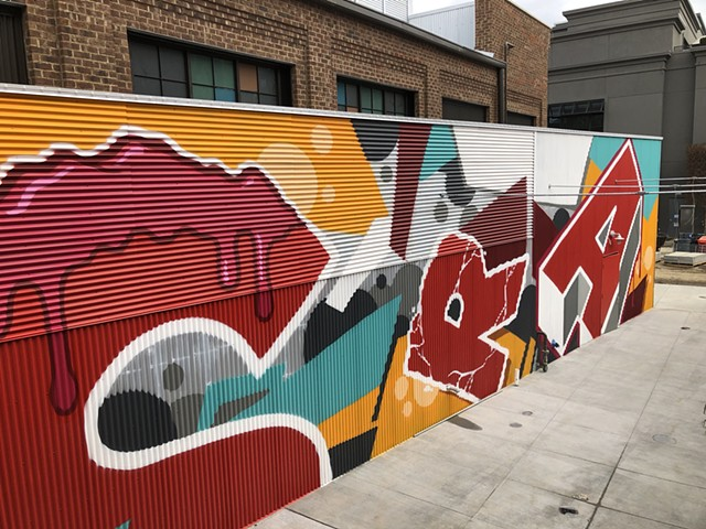 Mural painted for Easton Town Center in Columbus Ohio.  Painted with aerosol (spray paint) on corrugated metal.  Painted in November 2019.