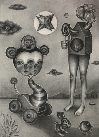 pencil on paper, pop surrealism, pop surreal, surreal, drawing
