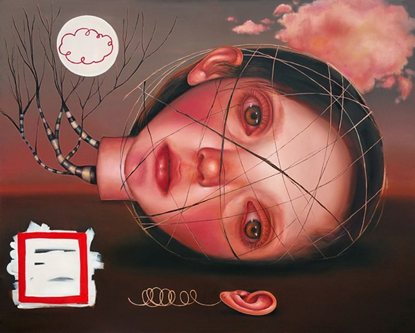 surreal art, pop surrealism, art, contemporary painting, contemporary art, oil painting, women artists, architecture of the moon, veronica jaeger art, portrait, imaginary portraits