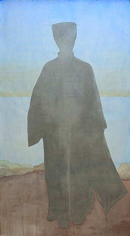 Figure in Black (Blue Sky)