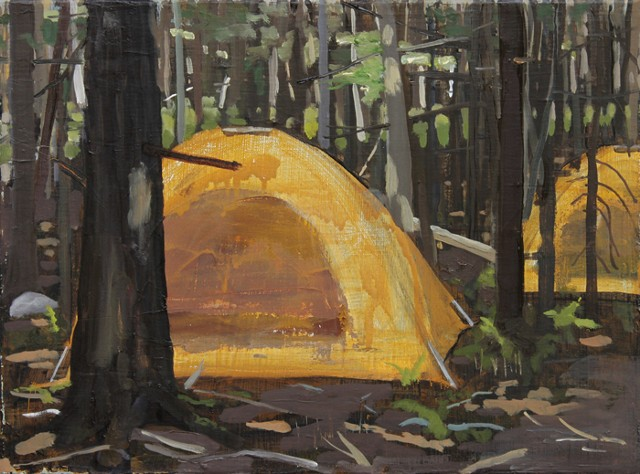 Tent in Woods (Orange)