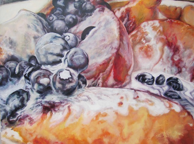 Fruit Painting, Still Life, Oil Painting, Photo realism, Blueberries, Peaches and Cream