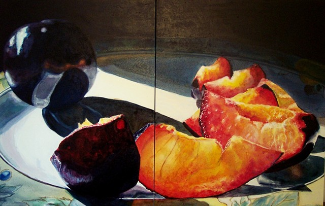 Black Plums, Plum Painting, Still Life, Fruit Painting, Realism