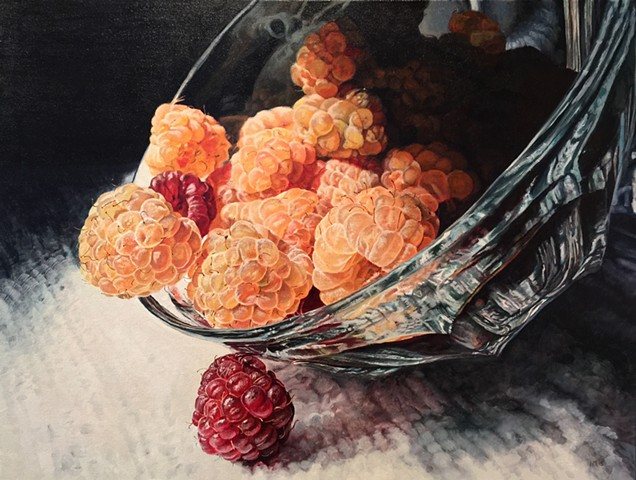 Golden Raspberries, Raspberry Painting, Photo Realism, Food Painting, Hyper-realism