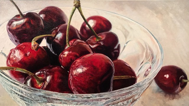 Cherries, Still Life, Fruit Painting, Oil Painting, Photo Realism, Red Fruit, Food Painting, Red Painting, Hyper-realism