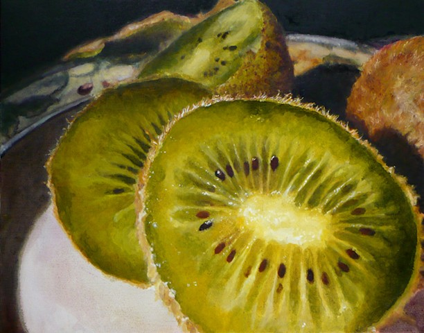 Kiwis, Still Life, Kiwi Painting, Green Fruit, Realism, Oil Painting, Fruit Painting