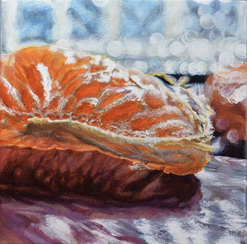 Citrus, orange, still life, small work, photo realism, oil painting, fruit painting
