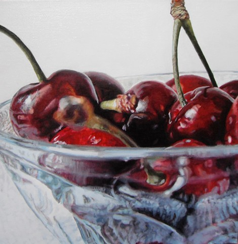 Cherries, Still Life, Fruit Painting, Oil Painting, Photo Realism, Red Fruit