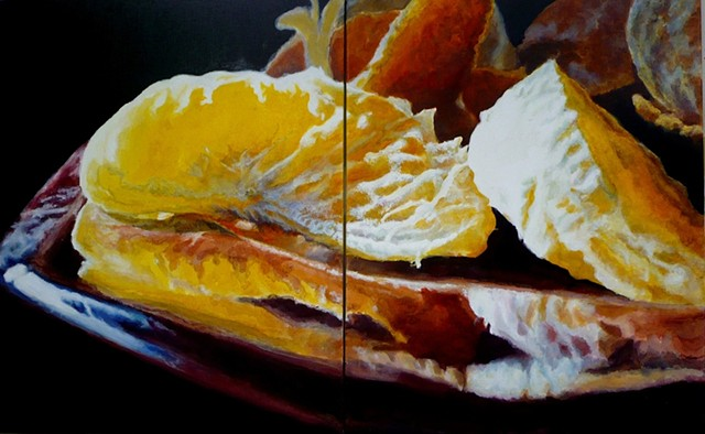 Tangerines, Red Plate, Still Life, Fruit Painting, Realism, Photo Realism, Oil Painting