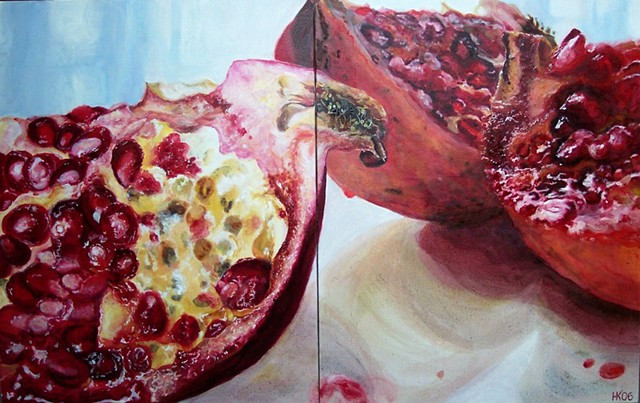 Anar, Pomegranate, Still Life, Pomegranate Painting, Oil Painting, Fruit Painting