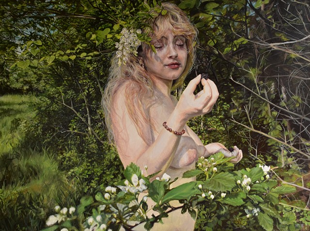figure painting, nude, blackberry, fruit, innocence, youth, photorealism, garden, nature painting