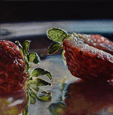 Strawberry painting, strawberries, home decor, red painting, still life, small work, fruit painting, hyperrealism, oil painting