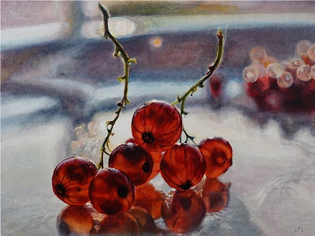 Red currants, fruit painting, red painting, hyperrealism, back lit, contemporary still life, berry painting
