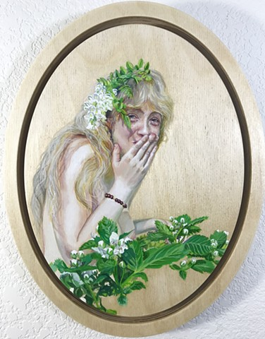 nude painting, figure painting, wood nymph, blackberry bush, flower child