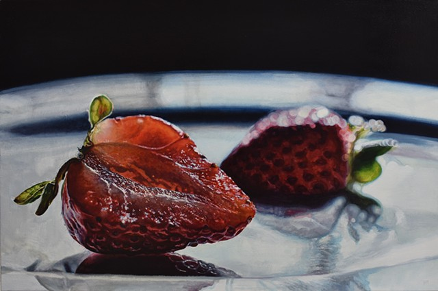 Strawberry painting, still life, oil painting, red painting, statement piece, chiaroscuro, hyperrealism