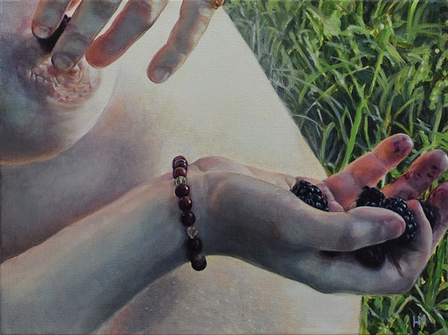 hand, berries, blackberries, breast, bracelet, grass, belly, female figure, hands, oil painting
