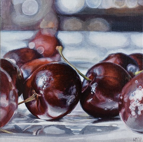 Cherry painting, Love, romance, red fruit, still life, oil painting
