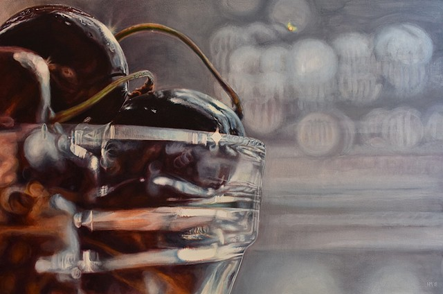 Cherry painting, oil painting, still life, photorealism, hyperrealism, bowl of cherries, statement piece, fruit painting